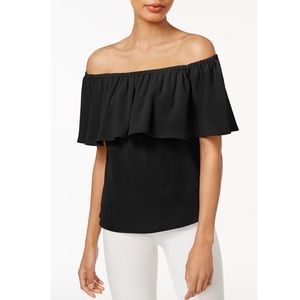 NWT Bar III Ruffled Off-The-Shoulder Crepe Blouse